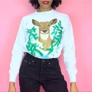 1990's Vintage Airbrushed Deer Graphic Sweatshirt